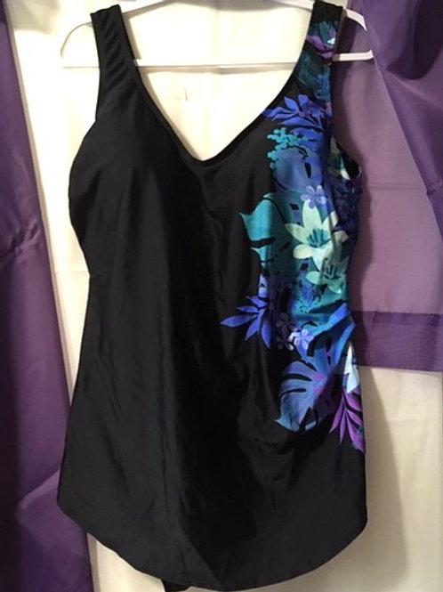 Women's Size 22 Black Floral One Piece Swimsuit