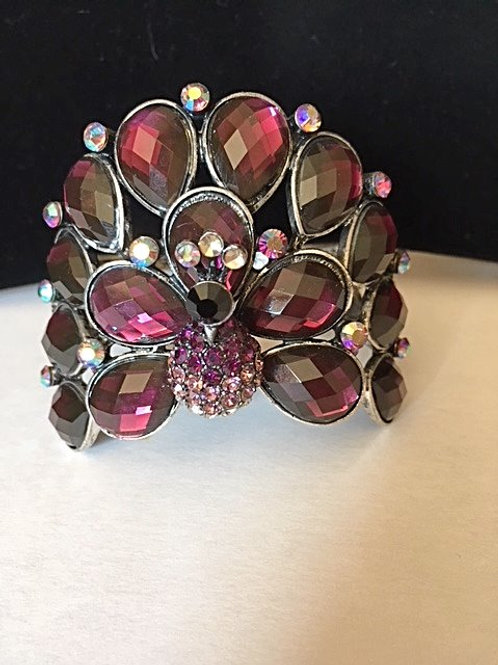 Ladies Peacock Design Purple Rhinestones Bracelet