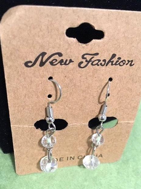Ladies Silver Clear Orbs Dangling Pierced Earrings