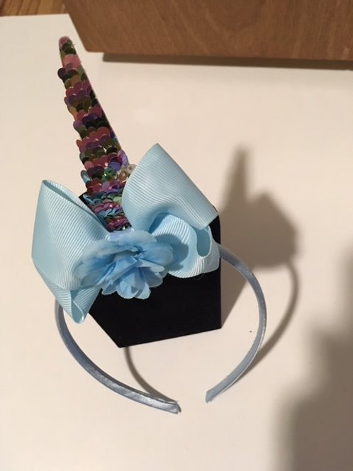 Girls Sequin Unicorn Horn Blue Bow Headband