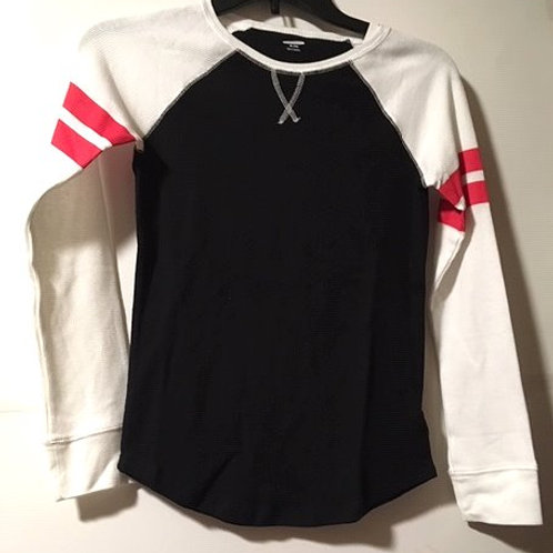 Girls Size XL 14 Old Navy Black White Thermal Long Sleeve Top