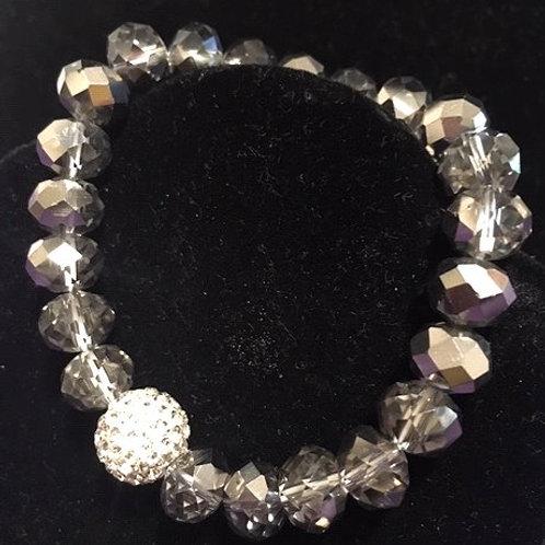 Ladies Stretch Gray Irredescent Bead Bracelet