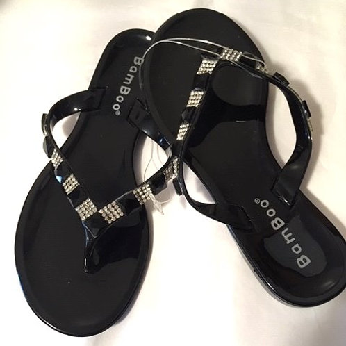 Girls Black Clear Rhinestone Bamboo Sandals