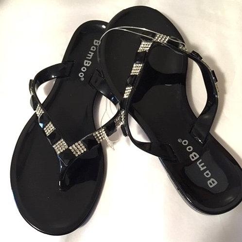 Toddler Girls Black Clear Rhinestone Bamboo Sandals