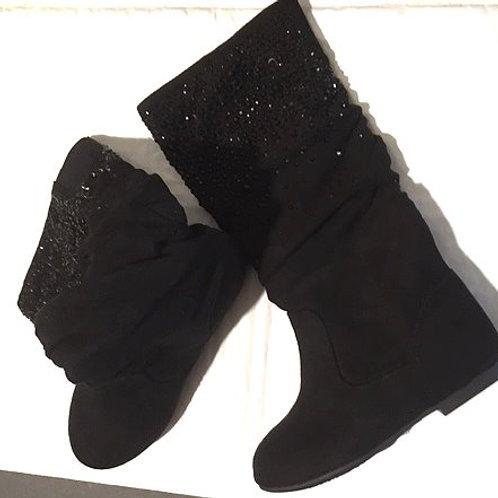 Girls Size 8 M Black Knee High GB Girls Boots