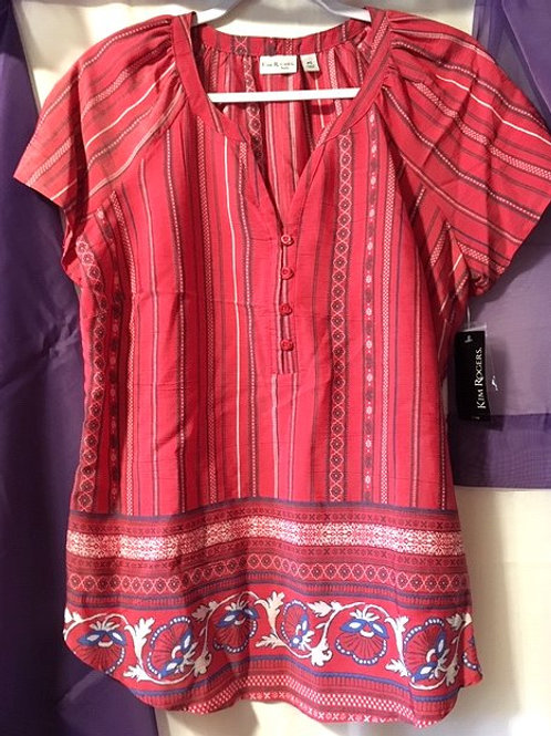 Ladies Petite Size Small Red Mercury Short Sleeve Top