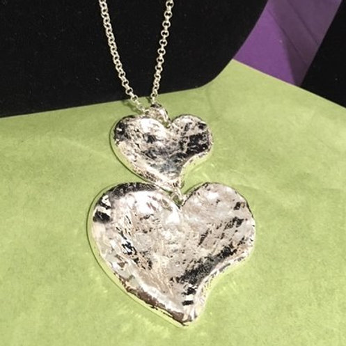 Ladies Silver Double Heart Long Necklace