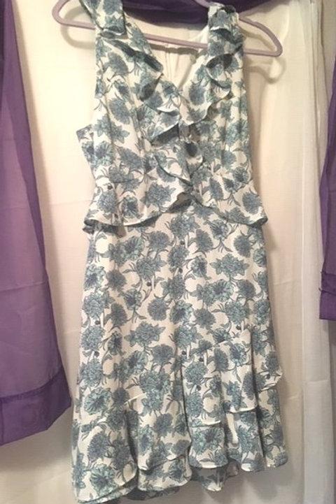 Juniors Size Medium Blue Aqua Floral Sleeveless Dress