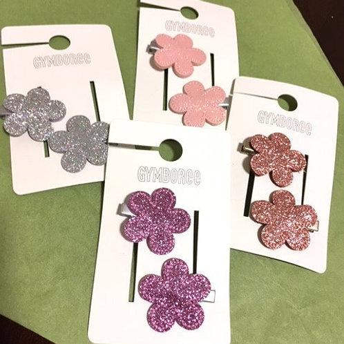 Girls Set Glitter Flower Hair Clips