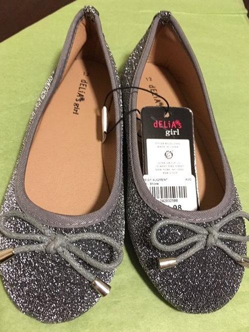 Girls Size 12 Silver Glitter Slip On Delia's Girl Shoes