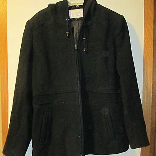 Ladies Size 12 Used Black Wool Jacket With Hood