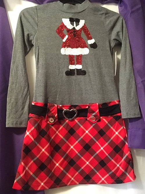 Girls Size Large 10 - 12 Sequined Ms Santa Christmas Dress