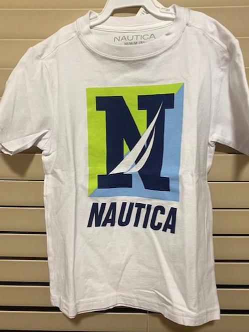 BOYS SIZE MEDIUM 5 WHITE GRAPHIC TOP BY NAUTICA