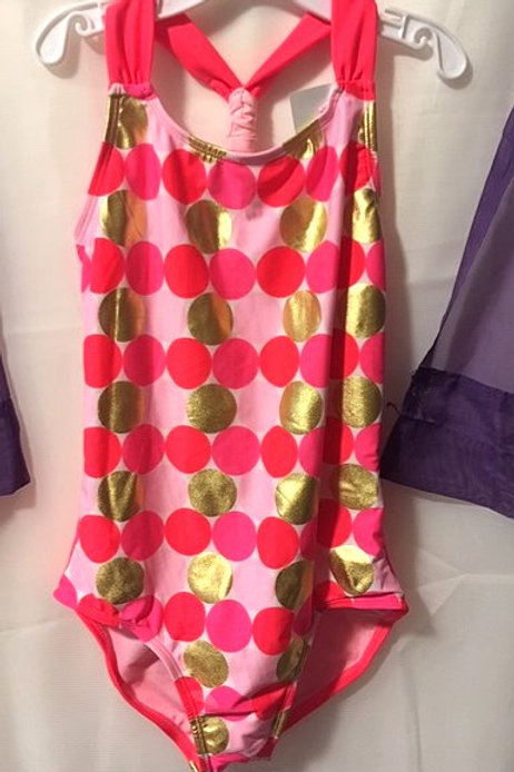 Girls Size Large Fluorescent Pink One Piece Swimsuit