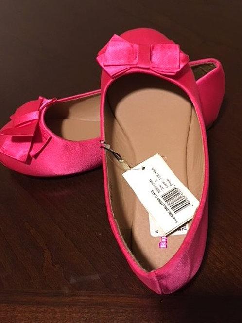 Girls Fushia Ballerina Flat Rugged Bear Shoes