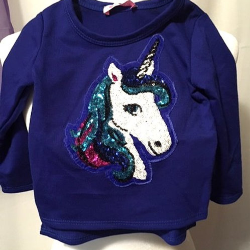 Toddler Girls Sequined Unicorn Long Sleeve Top
