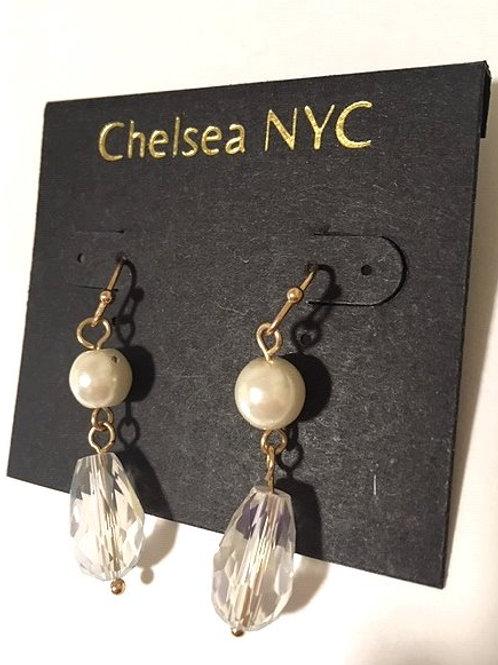 Ladies White Orb & Clear Rhinestone Dangling Pierced Earrings
