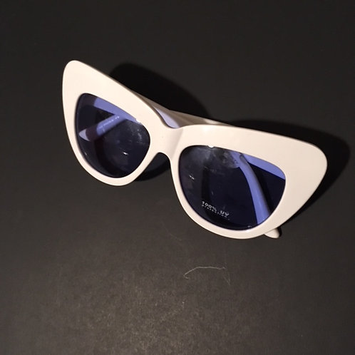 Ladies White Large Frame Sunglasses