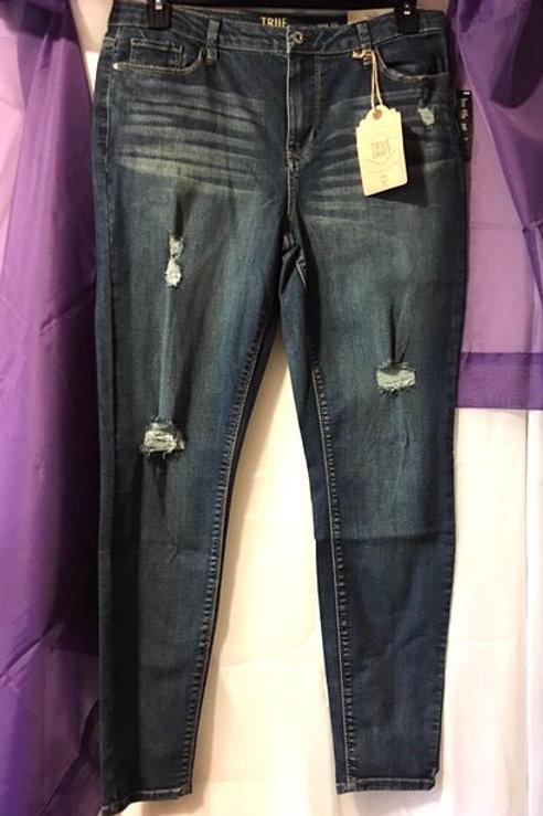 Juniors Size 15 Medium Blue Mid Rise Skinny Jeans