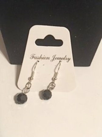 Ladies Silver Black Pierced Earrings