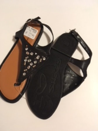 Girls Size 3 Black Rhinestone Sandals by Rampage Girls