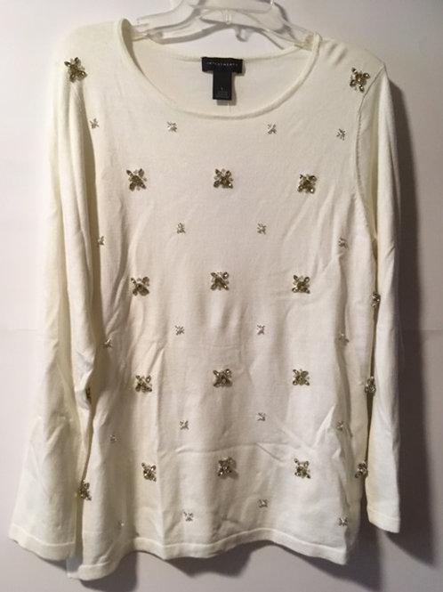 Ladies Size Large Cream Sweater Top