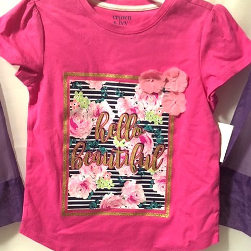 Girls Size 5 Pink Graphic Short Sleeve Top