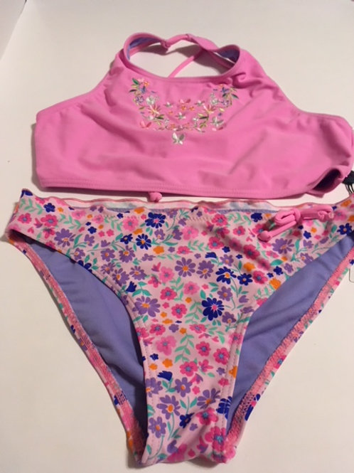 Girls Size 14 Pink Purple Two Piece Swimsuit