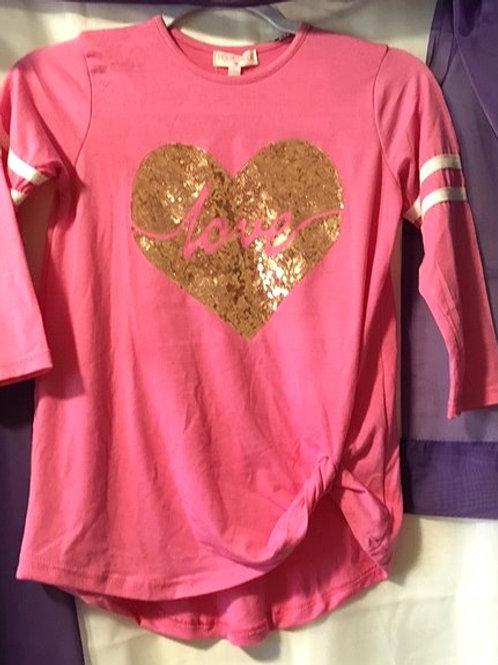 Girls Size Large Pink Quarter Length Sleeve Top