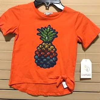 TODDLER GIRLS SIZE 5 ORANGEPINEAPPLE APPLIQUE TOP BY FLAPDOODLES