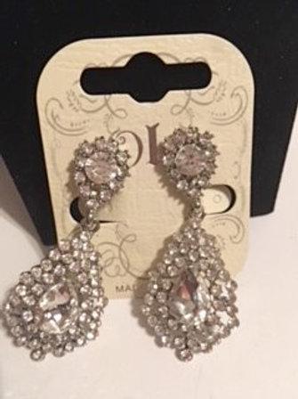 Ladies Clear Rhinestone Dangling Clip Earrings