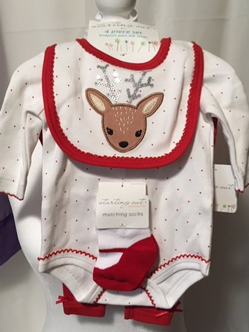 Baby Girl Size NB 4 Piece Christmas Set