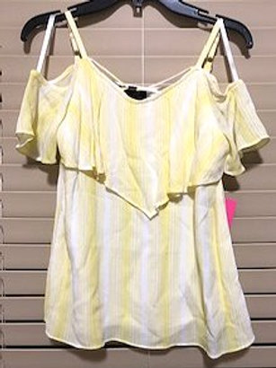 GIRL'S SIZE SMALL 7/8 YELLOW WHITE TOP BY I.N. GIRL