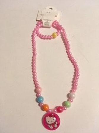 Girls Stretch Pink Necklace & Bracelet Set