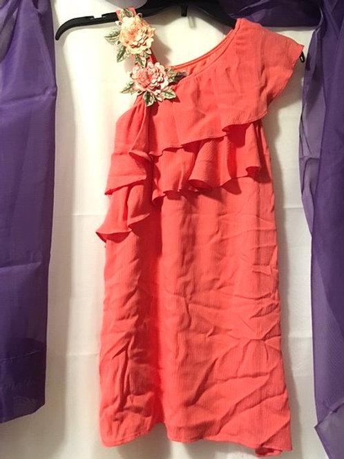 Girls Size 10 Coral Strap Sleeveless Dress