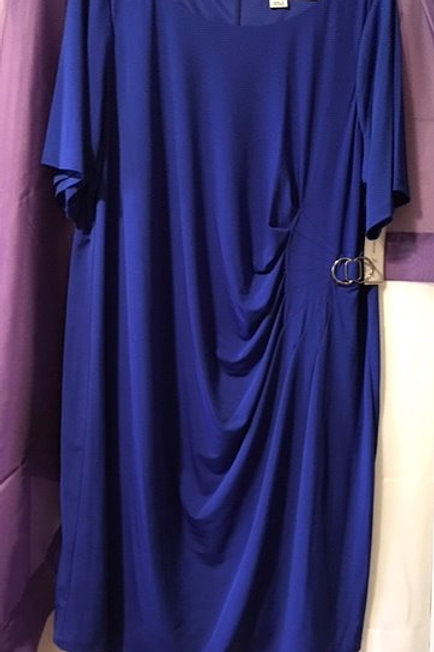 WOMEN'S ROYAL BLUE SHORT SLEEVE RUCHED DRESS BY LAURA JEFFRIES