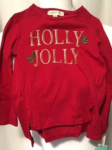 Toddler Girls Red Graphic Long Sleeve Copper Key Christmas Top