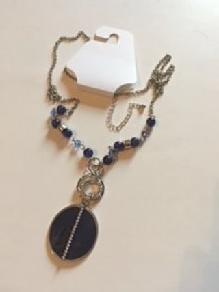 Ladies Silver & Blue Necklace By Color