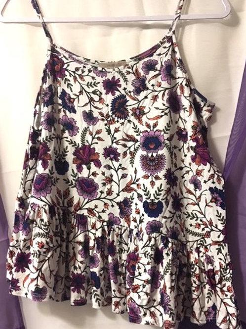 Girls Size XL Purple Floral Spaghetti Strap Top