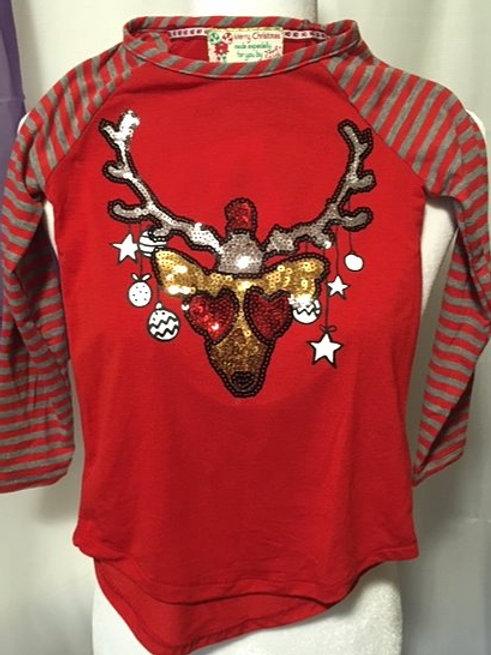 Girls Size 4 Sequin Reindeer Long Sleeve Poof Girl Christmas Top