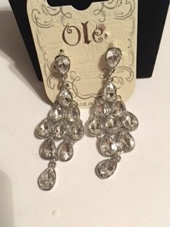 Ladies Clear Multi Rhinestone Dangling Pierced Earrings