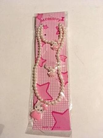 Girls White Beads & Kitty Jewelry Set