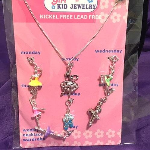 Girls Interchangeable Ballet Charm Necklace Set