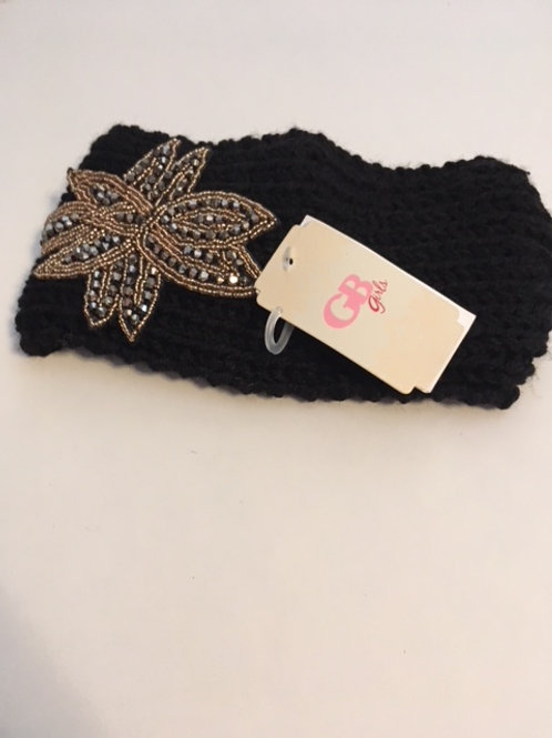 Girls Black Adjustable Rhinestone GB Girls Head Wrap