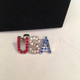 Ladies Silver Sequined USA Pin or Necklace Pendant