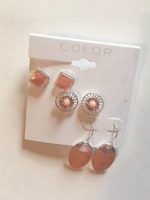Ladies Peach Pierced Earring Set