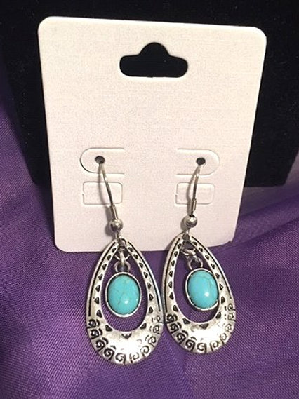 Ladies Silver Turquoise Oval Dangling Pierced Earrings