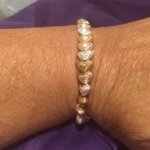 Ladies Stretch RoseGold Silver Heart Bracelet