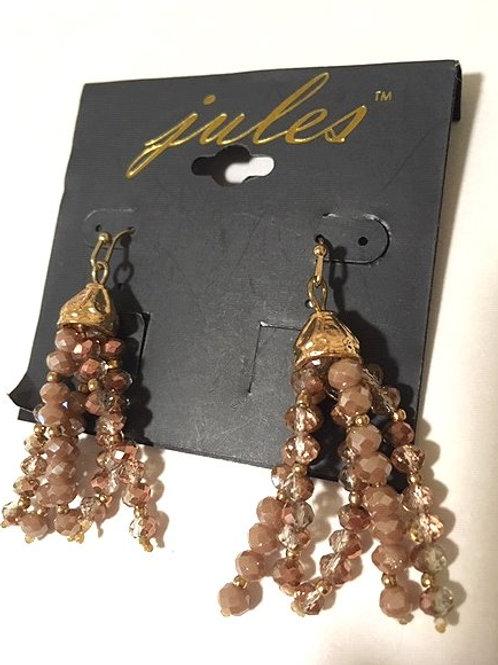 Ladies Multi Mauve Beaded Dangling Pierced Earrings