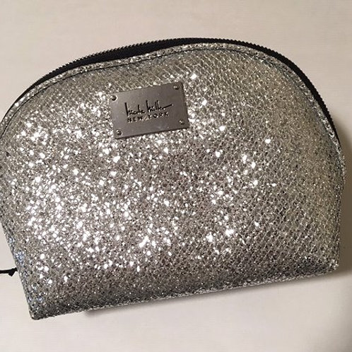 Ladies Silver Glitter Sequin Cosmetic Bag